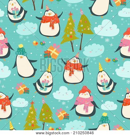 Seamless pattern with cute penguins and christmas decor