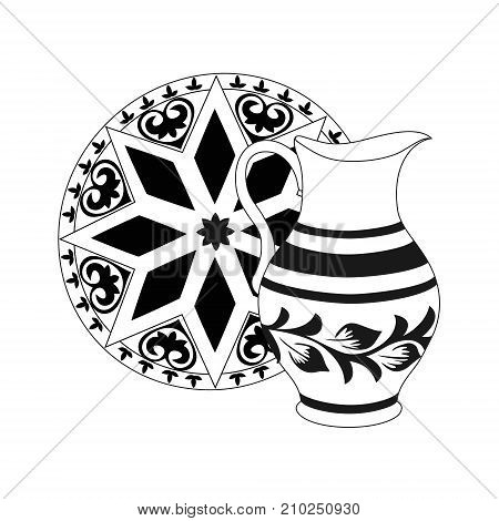 Composition of monochrome jug with tray. Crockery in black and white colors. Rustic ceramic utensils unicolorous vector illustration for your design. Square location. poster