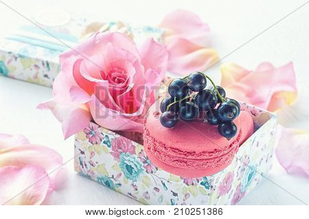 Macarons with black currant in a gift box on the background of beautiful flowers roses. Dessert close-up. The horizontal frame.