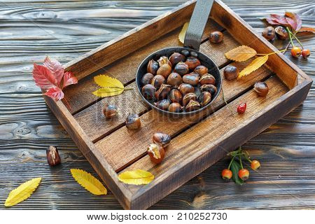 Delicious Roasted Chestnuts In A Cast Iron Skillet.