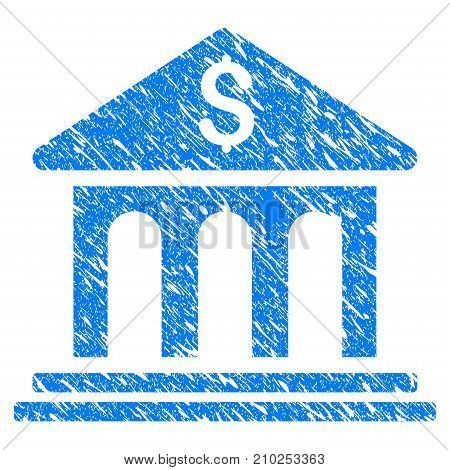 Grunge Bank Building icon with scratched design and dust texture. Unclean vector blue Bank Building pictogram for rubber seal stamp imitations and watermarks. Draft sign symbol.