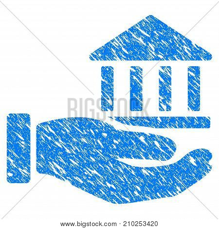 Grunge Bank Service Hand icon with scratched design and scratched texture. Unclean vector blue Bank Service Hand pictogram for rubber seal stamp imitations and watermarks. Draft emblem symbol.