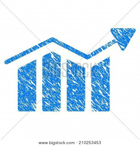 Grunge Bar Chart Trend icon with scratched design and unclean texture. Unclean vector blue Bar Chart Trend pictogram for rubber seal stamp imitations and watermarks. Draft emblem symbol.