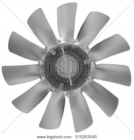 Isolated on white silver metal air screw of truck diesel engine. Car truck diesel engine fan airscrew. Silver metal fan. Car truck tractor engine fan blades. Car truck details parts