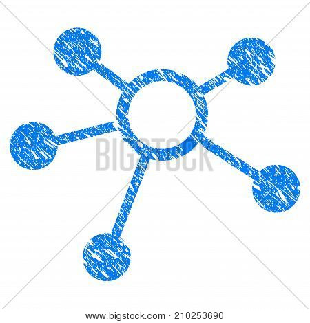 Grunge Connections icon with scratched design and grungy texture. Unclean vector blue Connections pictogram for rubber seal stamp imitations and watermarks. Draft emblem symbol.