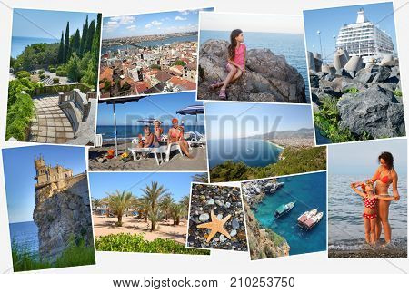 Collage with six people (three models) holidaymakers on sea coast and attractions