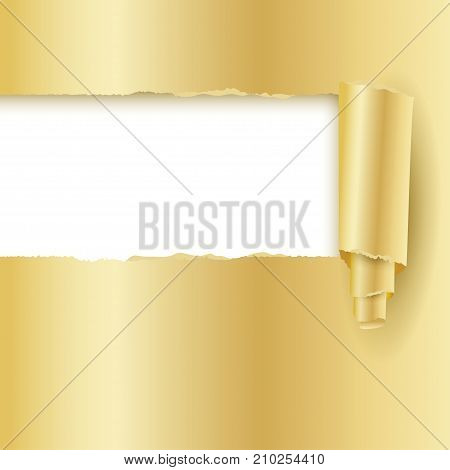 Torn golden shining paper. Card template with hole in paper of gold. Paper cut effect. Modern ripped background. Torn paper tape for various purposes.