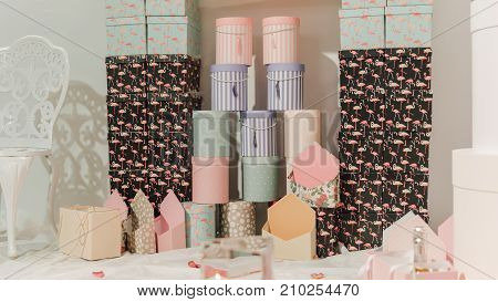 Boxes For Gift Wrapping For The New Year Close-up. Gift Wrapping