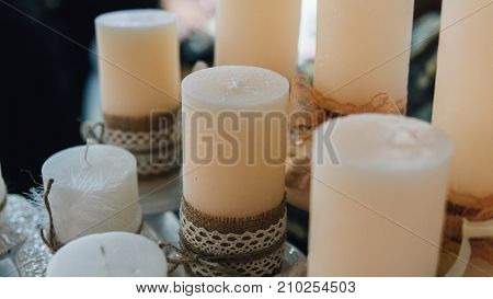 Colored Wax Candles For Spa Close-up.