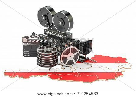 Austrian cinematography film industry concept. 3D rendering isolated on white background
