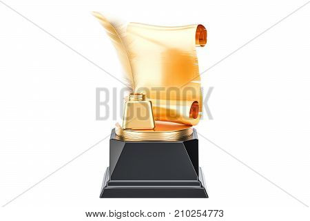 Golden Award best publication or writer concept. 3D rendering isolated on white background