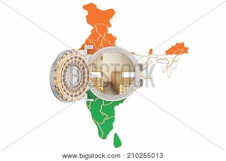 Golden reserves of India concept banking vault with gold bars. 3D rendering isolated on white background