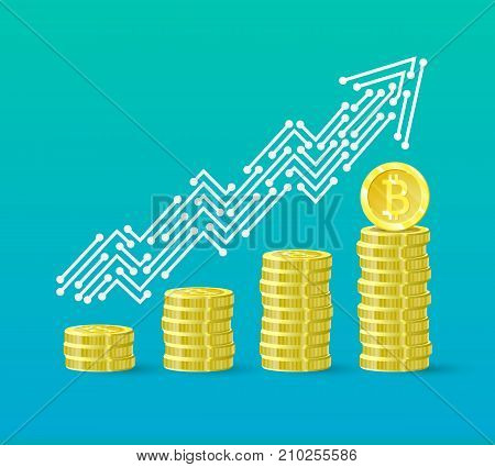 Bitcoin crypto currency growth chart of the financial system is growing. Bitcoin course. The line of the upward trend arrow in the form of tracks on the board. Vector illustration.