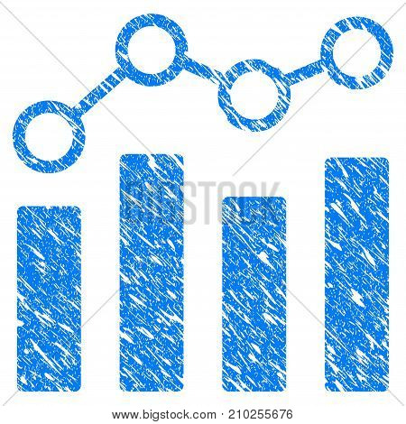 Grunge Point Chart icon with scratched design and unclean texture. Unclean vector blue Point Chart pictogram for rubber seal stamp imitations and watermarks. Draft sign symbol.