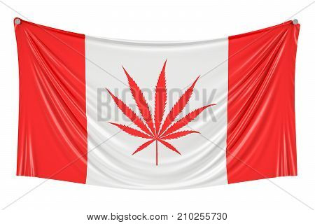 Legalization of cannabis in Canada. Canadian flag with marijuana leaf hanging on the wall 3D rendering