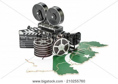 Pakistani cinematography film industry concept. 3D rendering isolated on white background