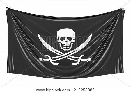 Piracy flag hanging on the wall 3D rendering