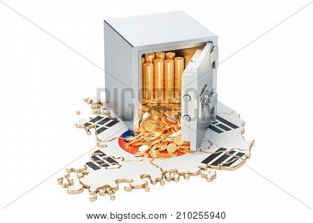 Safe box with golden coins on the map of South Korea 3D rendering