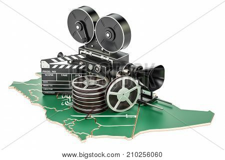 Saudi Arabia cinematography film industry concept. 3D rendering isolated on white background