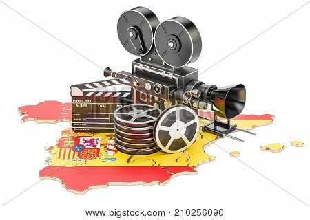 Spanish cinematography film industry concept. 3D rendering isolated on white background