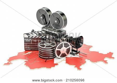 Swiss cinematography film industry concept. 3D rendering isolated on white background
