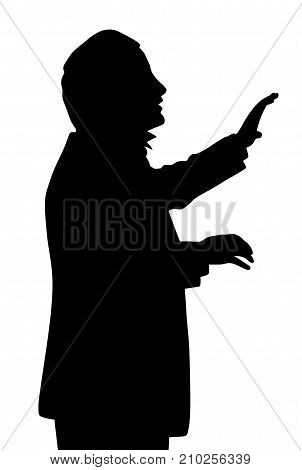 Choral music conductor. Isolated white background. EPS file available.