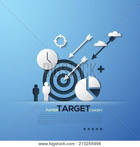 Target paper concept. White silhouettes of aim, arrows, person, clouds, watches and pie chart. Modern elements in minimalist style. Vector illustration for website banner, advertisement, presentation.