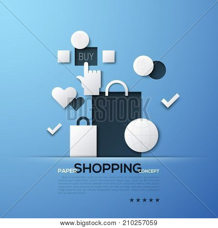 Shopping paper concept. White silhouettes of bags, globe, dollar coins and hand clicking on Buy button. Modern elements in simple style. Vector illustration for advertisement, brochure, website.