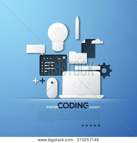 Paper concept of coding, front and back end software development, program code testing. White silhouettes of laptop, mouse pad, light bulb. Elements in simple style. Vector illustration for website.