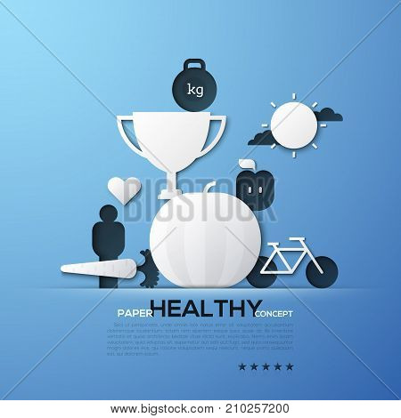 Paper concept of healthy lifestyle, nutrition, fitness, weight loss. White silhouettes of winner's cup, bicycle, fruits and vegetables. Elements in minimal style. Vector illustration for brochure.