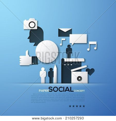 Paper concept of social media and networking, communication, blogging. White silhouettes of photo camera, people, thumbs up. Elements in simple style. Vector illustration for brochure, website banner.