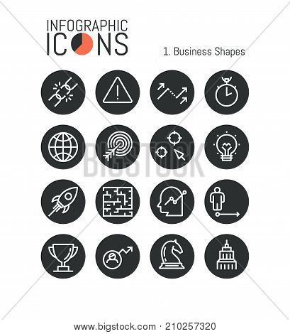 Collection of thin line business icons: growth, project management, strategy planning, startup launch, company development. Vector illustration for website, web graphics, presentation, report, banner.