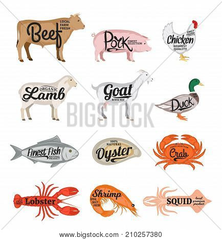Set of vector butchery and seafood icons. Farm animals and seafood collection for groceries meat stores seafood shop advertising and packaging