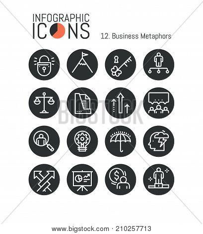 Bundle of simple thin line pictograms, business metaphors: success, competition, achievement unlocking, teamwork, productive cooperation. Vector illustration for website, banner, presentation, report.