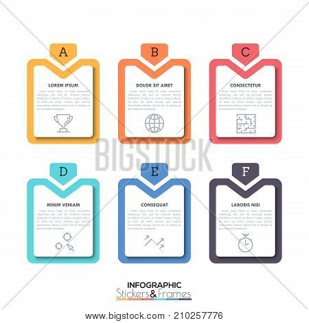 Six colorful rectangular elements with letters, text boxes and thin line icons inside, 6 business options. Simple infographic design template. Vector illustration for report, website banner, stickers.