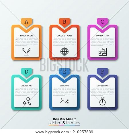Six multicolored rectangular tags with lettered arrows pointing at them, text boxes and thin line icons inside. 6 business options. Realistic infographic design layout. Vector illustration for report.
