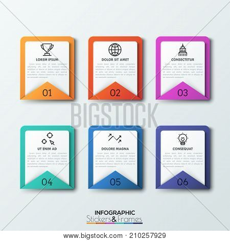 Six rectangular envelopes with numbers, headings, text boxes and thin line icons. 6 steps of project development. Realistic infographic design template. Vector illustration for report, brochure.