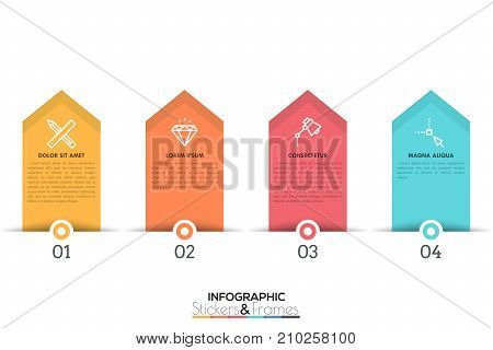 Four colorful pointer-like elements with numbers, thin line icons and text boxes inside, 4 features of business process concept. Minimal infographic design template. Vector illustration for brochure.
