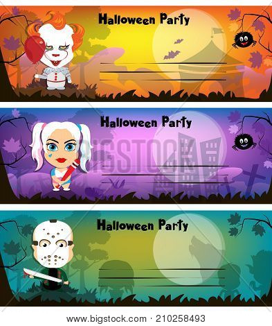 Halloween Party Invitation Card. The Characters Are Cartoonish.