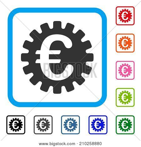 Euro Cog icon. Flat gray iconic symbol in a light blue rounded rectangular frame. Black, gray, green, blue, red, orange color additional versions of Euro Cog vector. Designed for web and app UI.