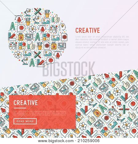 Creative concept in circle with thin line icons of idea, puzzle, color palette, brushes, creative vision, development design. Vector illustration of banner, web page, print media.