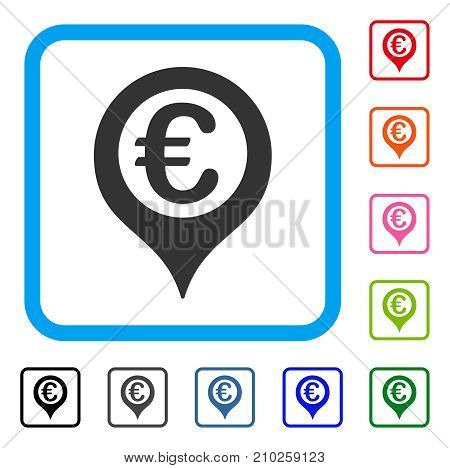 Euro Geotargeting icon. Flat gray iconic symbol in a light blue rounded rectangle. Black, gray, green, blue, red, orange color additional versions of Euro Geotargeting vector.