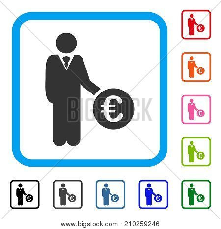 Euro Investor icon. Flat grey pictogram symbol inside a light blue rounded rectangle. Black, gray, green, blue, red, orange color additional versions of Euro Investor vector.