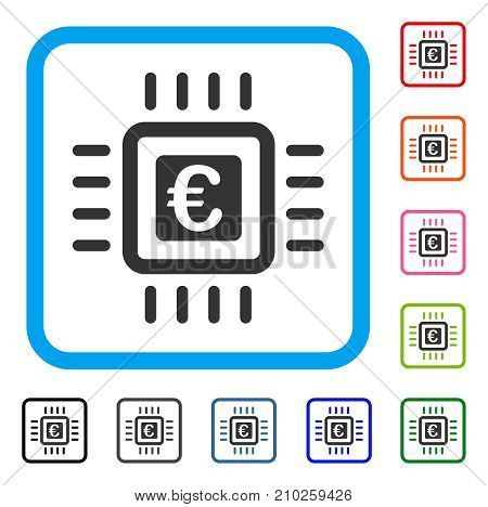 Euro Processor icon. Flat gray iconic symbol inside a light blue rounded squared frame. Black, gray, green, blue, red, orange color variants of Euro Processor vector.
