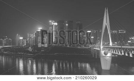 Chongqing Downtown At Night, China.