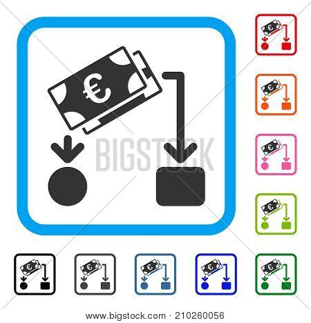 Euro Cash Flow icon. Flat gray pictogram symbol inside a light blue rounded frame. Black, gray, green, blue, red, orange color additional versions of Euro Cash Flow vector.
