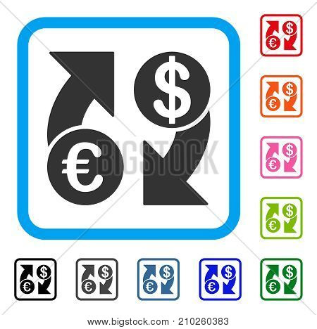 Euro Dollar Exchange Arrows icon. Flat grey pictogram symbol in a light blue rounded square. Black, gray, green, blue, red, orange color versions of Euro Dollar Exchange Arrows vector.
