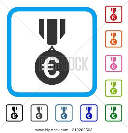 Euro Honor Medal icon. Flat gray iconic symbol in a light blue rounded rectangle. Black, gray, green, blue, red, orange color additional versions of Euro Honor Medal vector.
