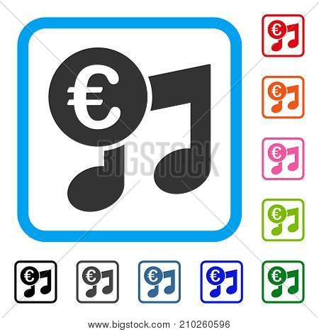 Euro Music Notes icon. Flat grey pictogram symbol in a light blue rounded rectangle. Black, gray, green, blue, red, orange color additional versions of Euro Music Notes vector.