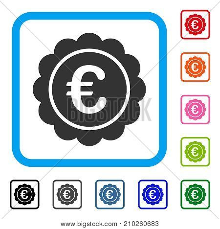 Euro Reward Seal icon. Flat grey pictogram symbol inside a light blue rounded square. Black, gray, green, blue, red, orange color variants of Euro Reward Seal vector.